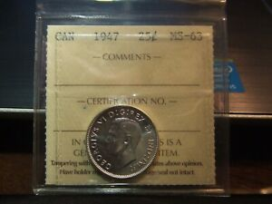 CANADA SILVER 25 CENTS 1947 ICCS MS 63 CONSERVATLY GRADED