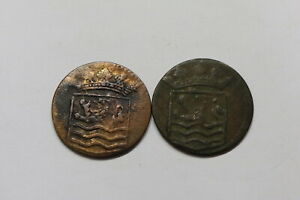 NETHERLANDS USA COLONIAL DUTCH NY SHIPWRECK DUIT 1736/37 B18 EEE1