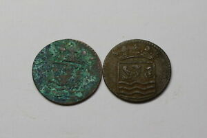 NETHERLANDS USA COLONIAL DUTCH NY SHIPWRECK DUIT 1744/53 B18 CCC35