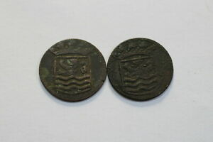 NETHERLANDS USA COLONIAL DUTCH NY SHIPWRECK DUIT 1744/45 B18 ZX42