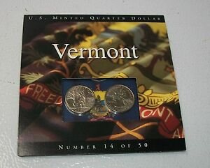COINS OF AMERICA VERMONT 2 PACK P@D STATE QUARTERS.