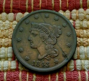 1843 BRAIDED HAIR LARGE CENT XF     COOL OBVERSE LAMINATION ERROR