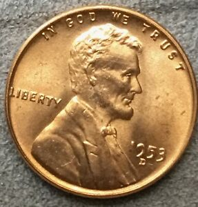 1953 D UNCIRCULATED BU RED RD LINCOLN WHEAT CENT PENNY   FREE SHIP. X461