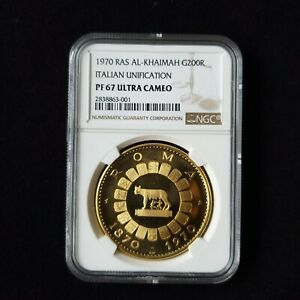 Click now to see the BUY IT NOW Price! UNITED ARAB EMIRATES UAE RAS AL KHAIMAH 200 RIYAL 1970 GOLD ROMA NGC PF 67