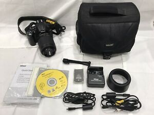 NIKON D D5000 12.3MP DIGITAL SLR CAMERA   BLACK  KIT W/ AF S DX 55 200MM LENS