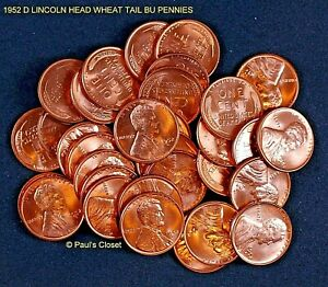 US BU ROLL OF 1952 D WHEAT CENT PENNIES ORIGINAL AND HIGH MS
