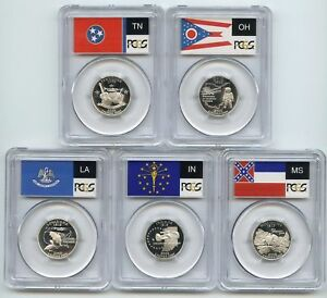 Click now to see the BUY IT NOW Price! 2002 SILVER  INDIANA OHIO TN LA MS  PCGS PR70DCAM STATE FLAG QUARTER 5 COIN SET