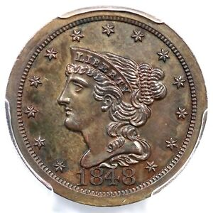 Click now to see the BUY IT NOW Price! 1848 PCGS PR 63 BN ORIGINAL CAC BRAIDED HAIR HALF CENT COIN 1/2C