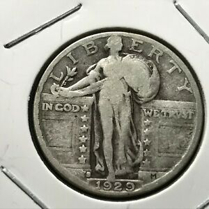 1929 S US. SILVER STANDING LIBERTY QUARTER / VG