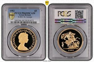Click now to see the BUY IT NOW Price! 1982 GREAT BRITAIN QUEEN ELIZABETH II GOLD 5 POUND PCGS PR69DC KEY DATE