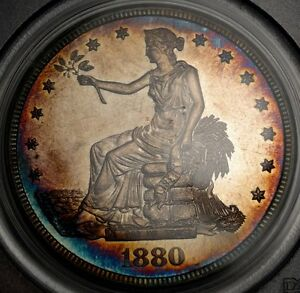 1880 TRADE DOLLAR PCGS & CAC PR 63 PROOF ONLY DATE SPECTACULAR OLD TONING