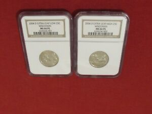2004 D 25C WISCONSIN MINT ERROR 2  QUARTERS EXTRA LEAF LOW&HIGH NGC MS 66 PL TWO