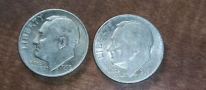 TWO 1953 D/D ROOSEVELT DIME RPM REPUNCHED MINT MARK VARIETY  HIGH GRADE ERROR