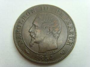 1854 W FRANCE 5 CENTIMES NAPOLEON III FRENCH COIN CINQ CENTS
