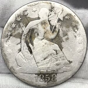 1858 O 50C SEATED HALF DOLLAR ||| PROBLEM FREE GREAT LOOKING ORIGINAL COIN