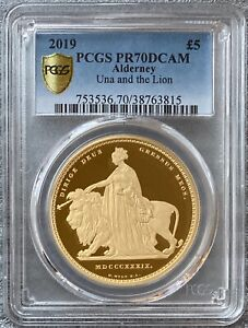 Click now to see the BUY IT NOW Price! 2019 ALDERNEY GOLD UNA AND THE LION 5 POUND PCGS PR70DCAM
