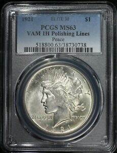 Click now to see the BUY IT NOW Price! 1921 PEACE SILVER DOLLAR PCGS MS63 ELITE 30 VAM 1H POLISHING LINES TOUGH VARIETY