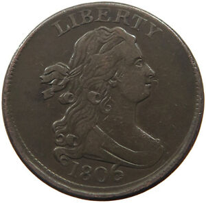 UNITED STATES HALF CENT 1806  OFF CENTER   T37 631