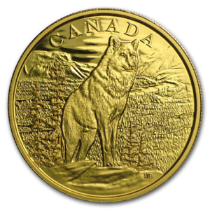 CANADA 2015 $350 ICONIC CANADIAN ANIMALS IMPOSING ALPHA WOLF PURE GOLD COIN