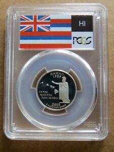 2008 S 25C HAWAII SILVER STATE FLAG LABEL QUARTER PROOF PCGS PR70DCAM