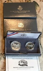 1991S US MINT  MOUNT RUSHMORE ANNIVERSARY 2 COIN PROOF SET STERLING BOX COA