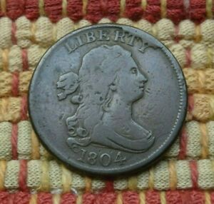 1804 DRAPED BUST HALF CENT VF     CROSSLET 4 STEMS CUD     REDUCED