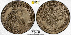 Click now to see the BUY IT NOW Price! LITHUANIA   AUGUSTUS II THE STRONG   1706 YEAR   6 GROSS   PCGS AU55