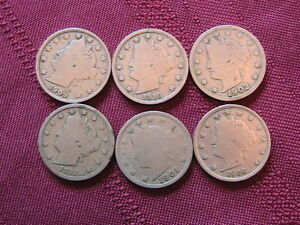 LOT OF 6 LIBERTY V NICKELS