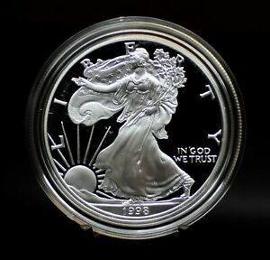 1998   PROOF   SILVER EAGLE WITH BOX AND COA