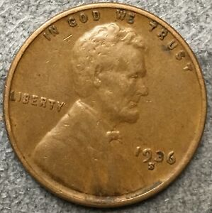 1936 S  LINCOLN WHEAT CENT PENNY   HIGHER GRADE   FREE SHIP. A455