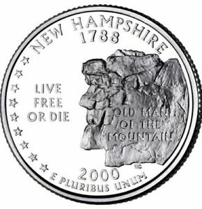 2000 D NEW HAMPSHIRE  STATE QUARTER UNCIRCULATED ROLL  40  FROM MINT SEALED BAGS