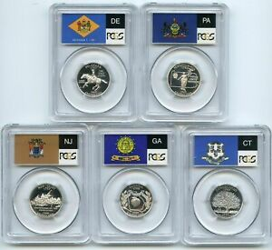 Click now to see the BUY IT NOW Price! 1999 SILVER DELAWARE NEW JERSEY PENNSYLVANIA GEORGIA & CONNECTICUT PR70DCAM SET