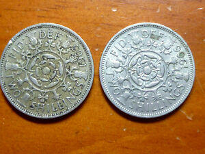 LOT OF 2 GREAT BRITAIN  UK  FLORIN/TWO SHILLING COINS 1963 &1966