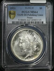 Click now to see the BUY IT NOW Price! 1921 PEACE SILVER DOLLAR PCGS MS64 ELITE 30 VAM 1H POLISHING LINES TOUGH VARIETY