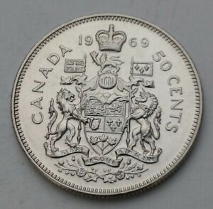 CANADA 50 CENTS 1969. KM75.1. NICKEL HALF DOLLAR COIN. ELIZABETH II.