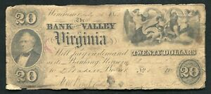 1853 $20 THE BANK OF THE VALLEY IN VIRGINIA WINCHESTER VA OBSOLETE BANKNOTE