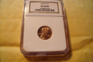 2002 D LINCOLN NGC MS 68 RD 1C   53/12 POP   $25 PRICE GUIDE   102 REGISTRY PTS