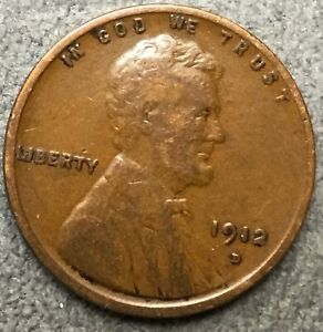 1912 D  LINCOLN WHEAT CENT PENNY   FREE SHIP. B207