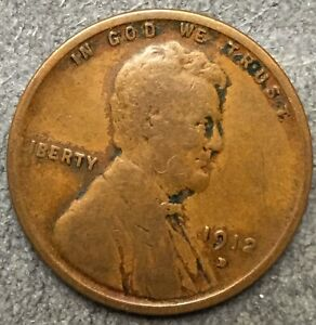 1912 D  LINCOLN WHEAT CENT PENNY   FREE SHIP. B201