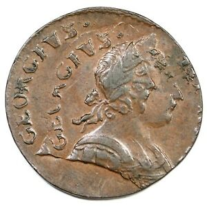 1772 DOUBLE STRUCK BRITISH IMITATION HALFPENNY COLONIAL COPPER COIN 1/2P