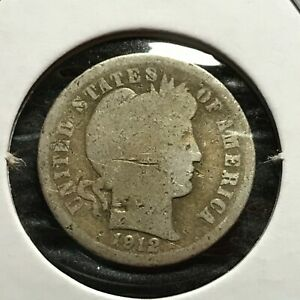 1912 US. SILVER BARBER DIME / GOOD
