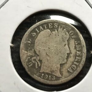 1913 US. SILVER BARBER DIME / GOOD