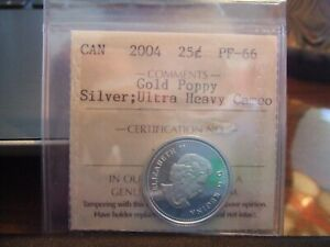 CANADA SILVER 25 CENTS 2004 GOLD PLATED POPPY UHC PF 66