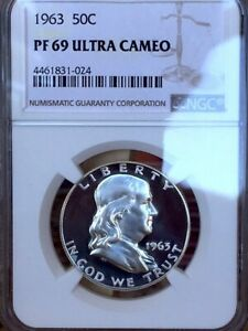 Click now to see the BUY IT NOW Price! 1963 PROOF FRANKLIN HALF DOLLAR NGC PR69 DCAM ULTRA CAMEO