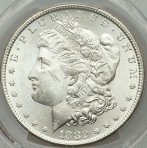 1882 CC NGC CERT. $1 MORGAN SILVER DOLLAR MS64 WONDERBREAD WHITE & SUPER BRITE