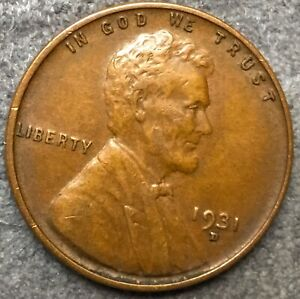 1931 D  LINCOLN WHEAT CENT PENNY   HIGH GRADE   FREE SHIP. B255
