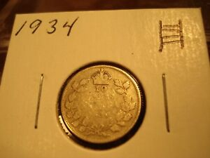 1934   CANADA DIME   SILVER CANADIAN 10 CENT