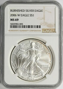 2006-W BURNISHED SILVER EAGLE,Inaugural 1st Year of Issue,with  Box,pouch /& COA,
