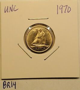1970 UNCIRCULATED 10 CENT KEY DATE UNC CANADA DIME BR14