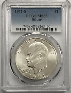 Click now to see the BUY IT NOW Price! 1971 S EISENHOWER IKE SILVER DOLLAR PCGS MS68   POP  6 COINS